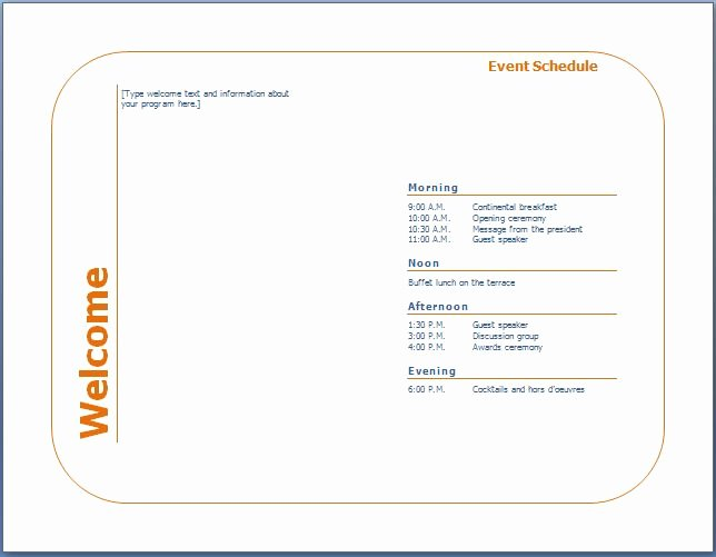 Event Program Template Word Fresh Generic event Program Template