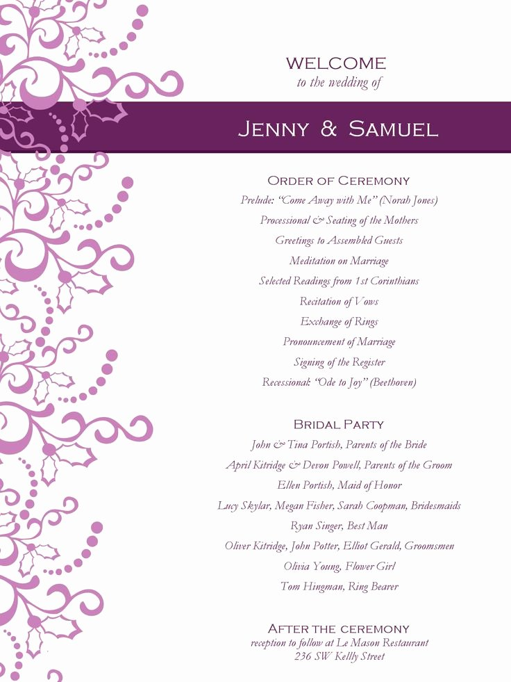 Event Program Template Word Fresh Wedding Program Templates Free