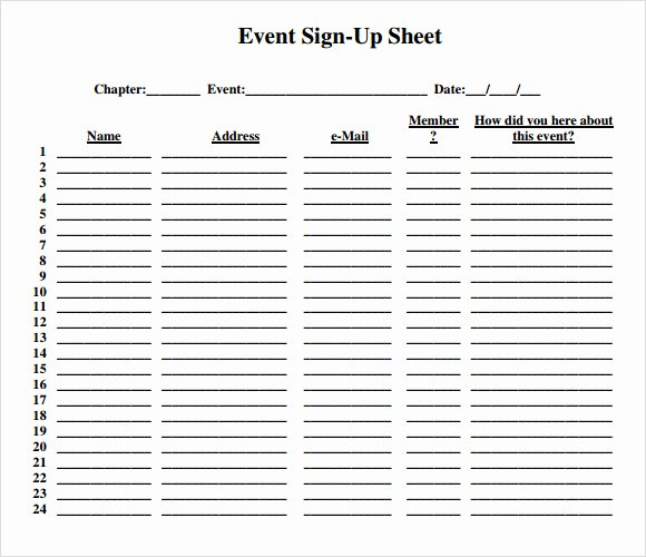 Event Sign In Sheet Template Luxury Free 16 Sign Up Sheet Samples In Google Docs