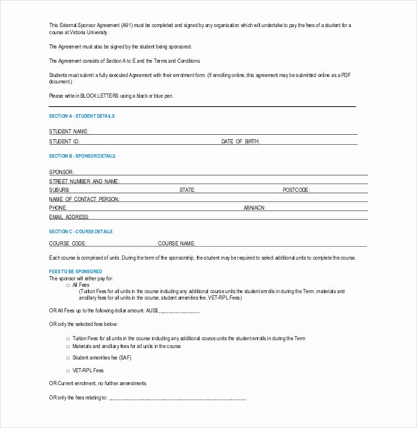 Event Sponsorship Agreement Template Awesome 16 Sponsorship Agreement Templates Free Sample Example