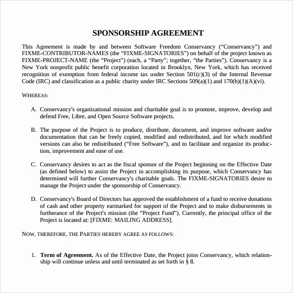 Event Sponsorship Agreement Template Awesome Sample Sponsorship Agreement 15 Documents In Pdf Word
