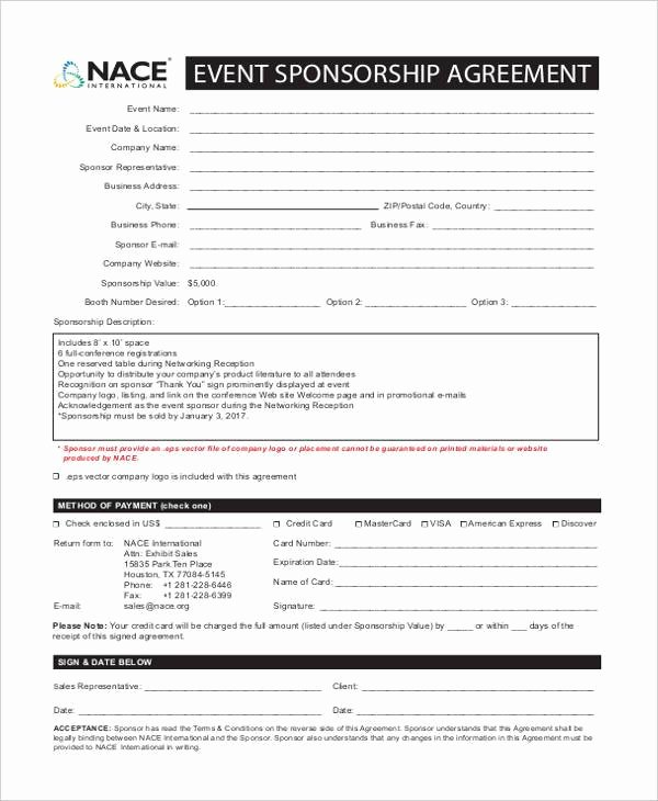 Event Sponsorship Agreement Template Best Of Free 7 Sponsorship Agreement form Samples In Sample