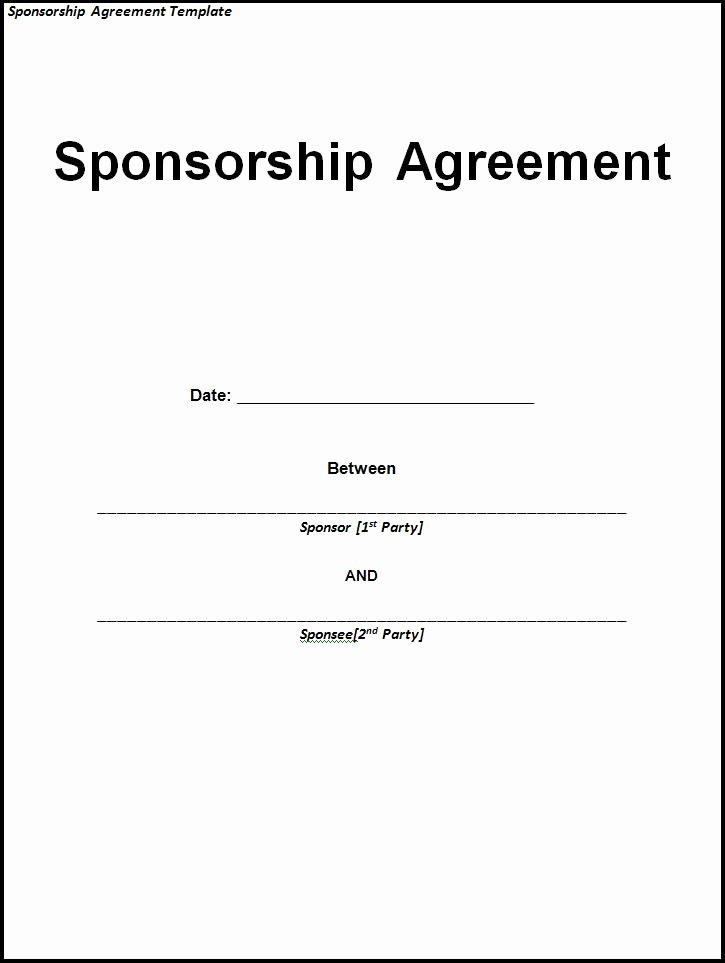Event Sponsorship Agreement Template Elegant Sponsorship Agreement Template