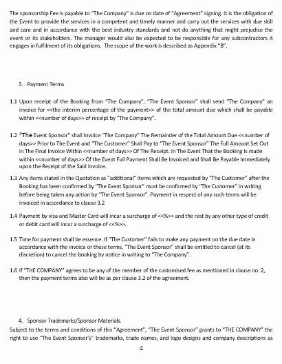 Event Sponsorship Agreement Template Fresh Ne0285 event Sponsorship Agreement Template – English