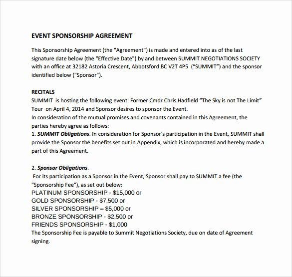 Event Sponsorship Agreement Template Fresh Sample Sponsorship Agreement 15 Documents In Pdf Word