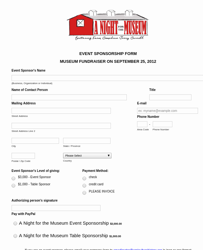 Event Sponsorship Agreement Template Inspirational event Sponsorship form Template
