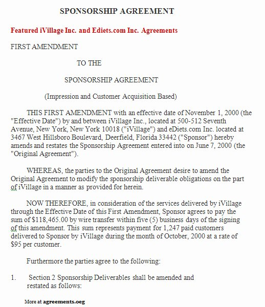 Event Sponsorship Agreement Template Inspirational Sponsorship Agreement Sample Sponsorship Agreement Template