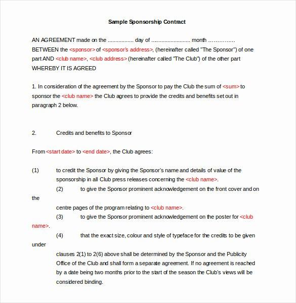 Event Sponsorship Agreement Template Lovely 16 Sponsorship Agreement Templates Free Sample Example