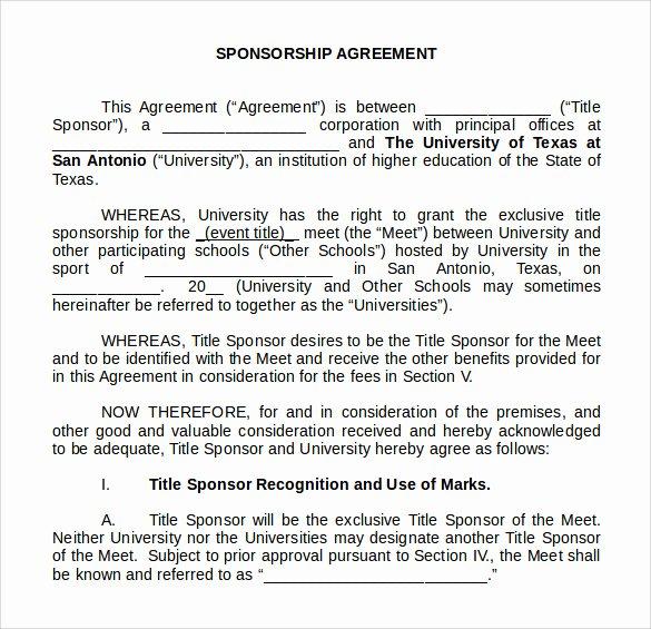 Event Sponsorship Agreement Template Lovely Sample Sponsorship Agreement 15 Documents In Pdf Word