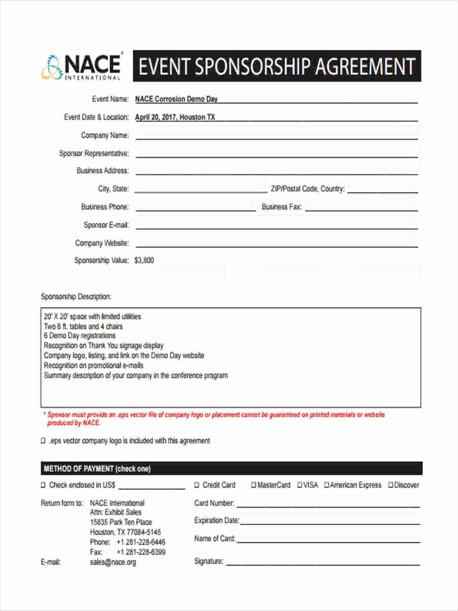 Event Sponsorship Agreement Template Luxury event Sponsorship form 6 Free Documents In Word Pdf