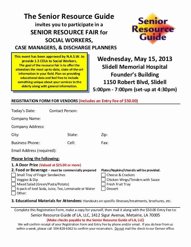 Event Vendor Application Template Awesome Vendor Registration form for Senior Resource Fair Smh