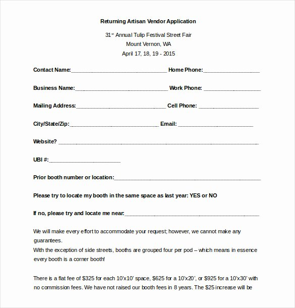 Event Vendor Application Template Best Of Vendor Application form Template