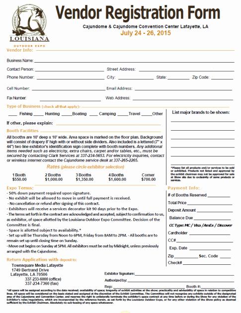 Event Vendor Application Template Elegant Download Vendor Registration Application form