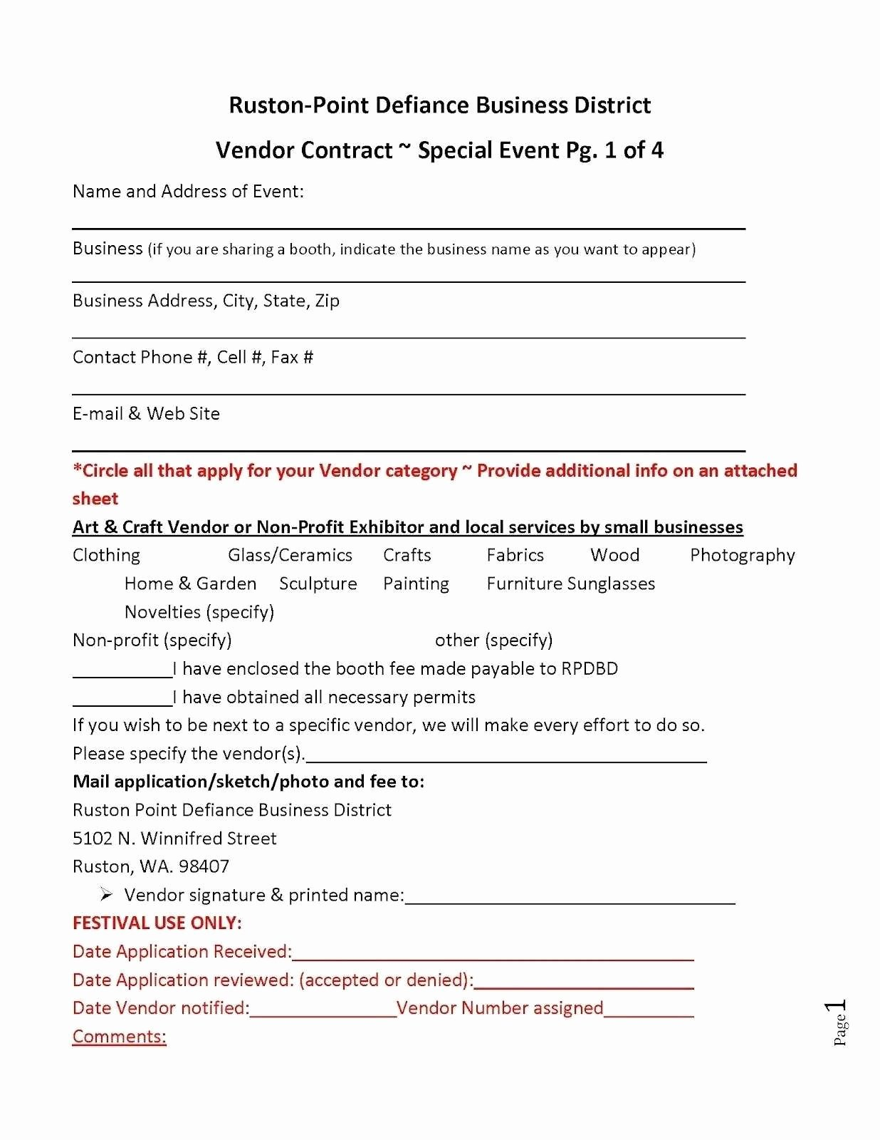 Event Vendor Application Template Elegant Vendor Agreement Template Good event Vendor Contract