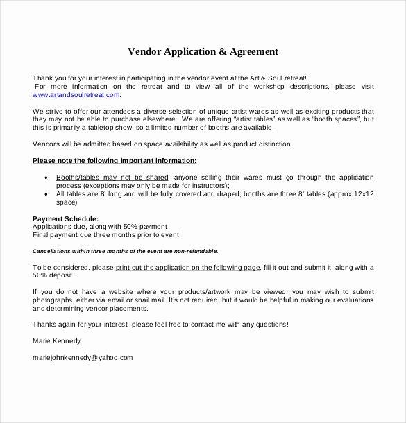 Event Vendor Application Template Fresh 10 Vendor Application Templates – Free Sample Example