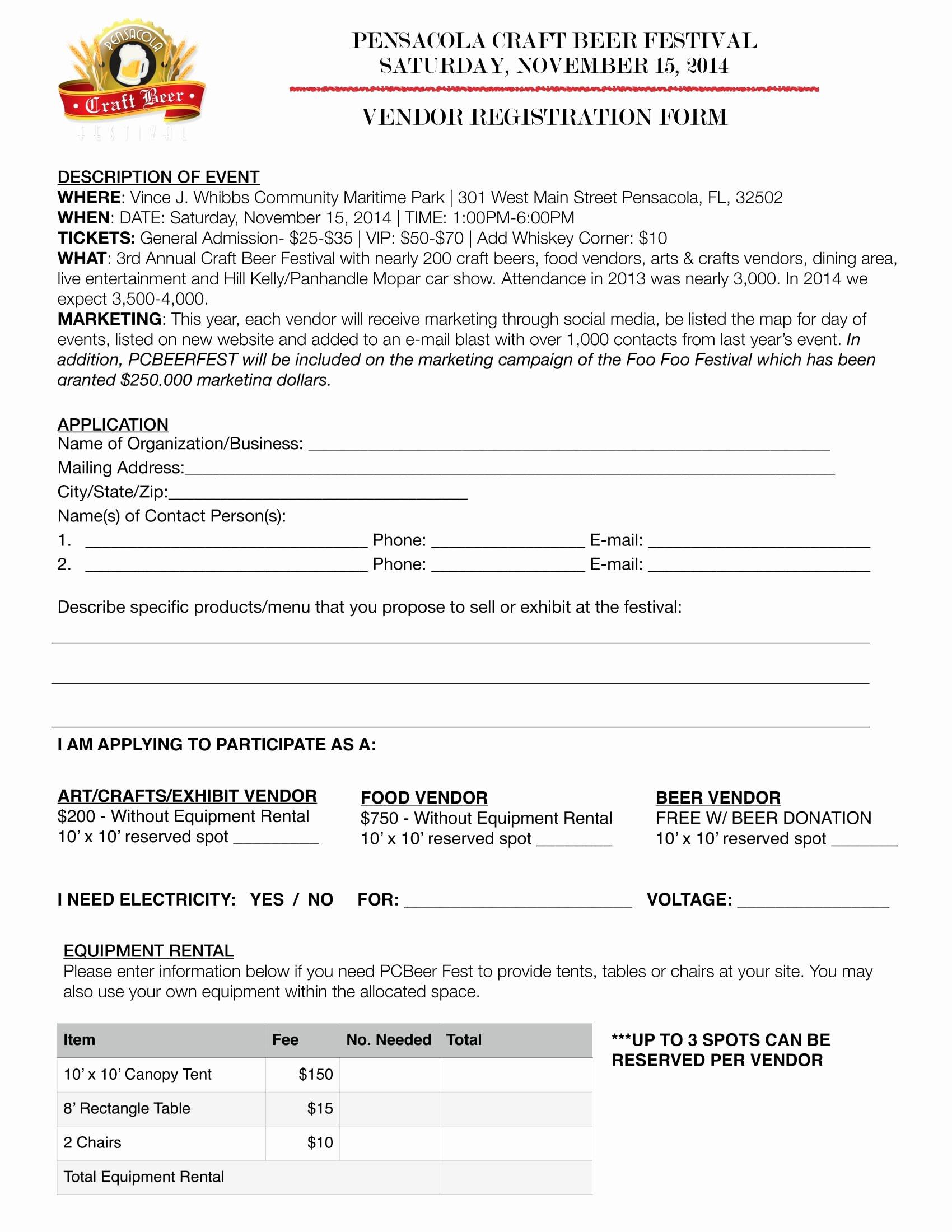 Event Vendor Application Template Inspirational 10 event Vendor Registration form Free Word Pdf Download