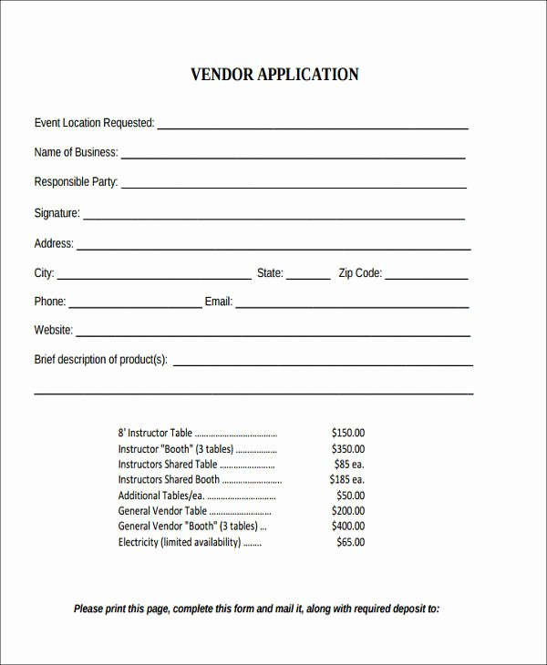 Event Vendor Application Template Inspirational Agreement form format