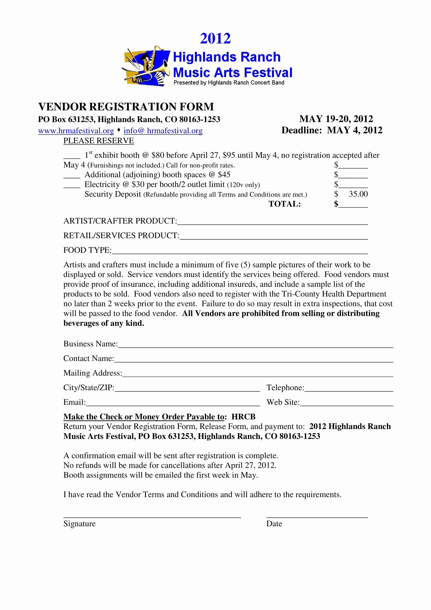 event vendor registration forms