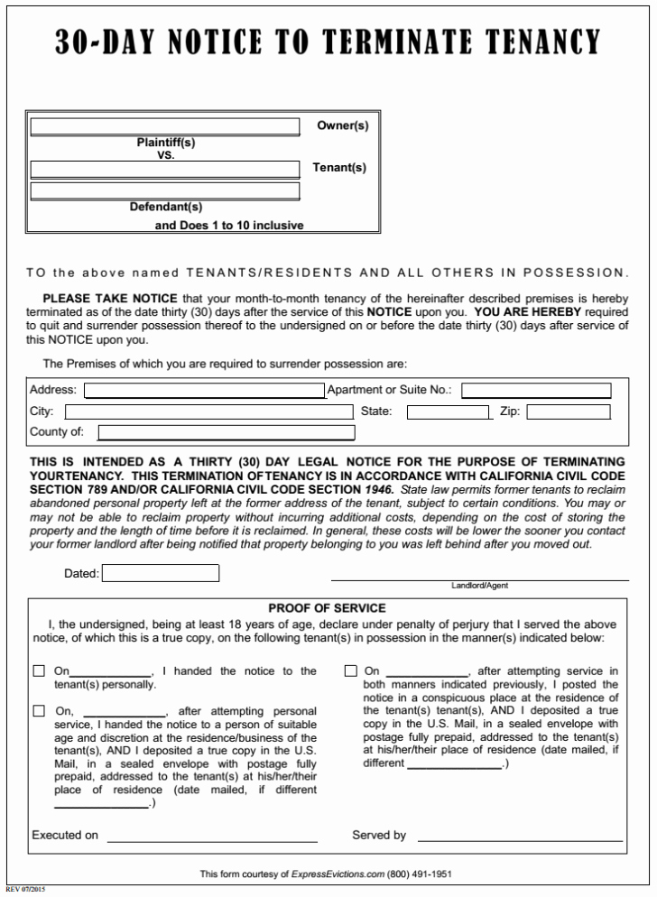 Eviction Notice Template Pdf Beautiful Eviction forms Free Image – 3060 Day Notice to Vacate Free