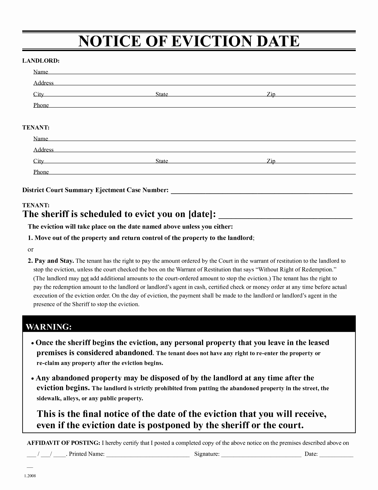 Eviction Notice Template Pdf Best Of Free Eviction Notice Template