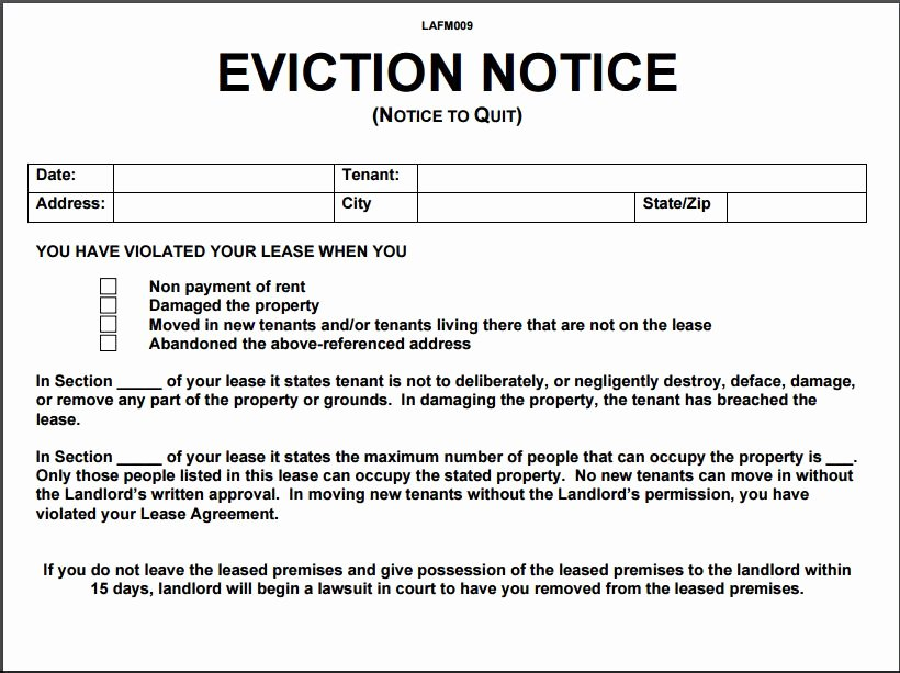 Eviction Notice Template Pdf Fresh 10 Eviction Notice Template Examples