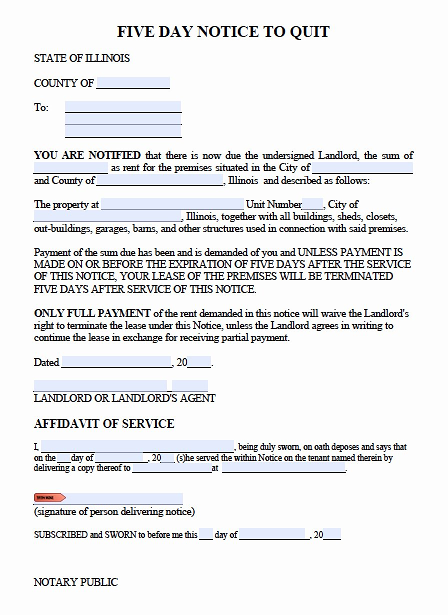 Eviction Notice Template Pdf Luxury Free Illinois Five 5 Day Notice to Quit Template