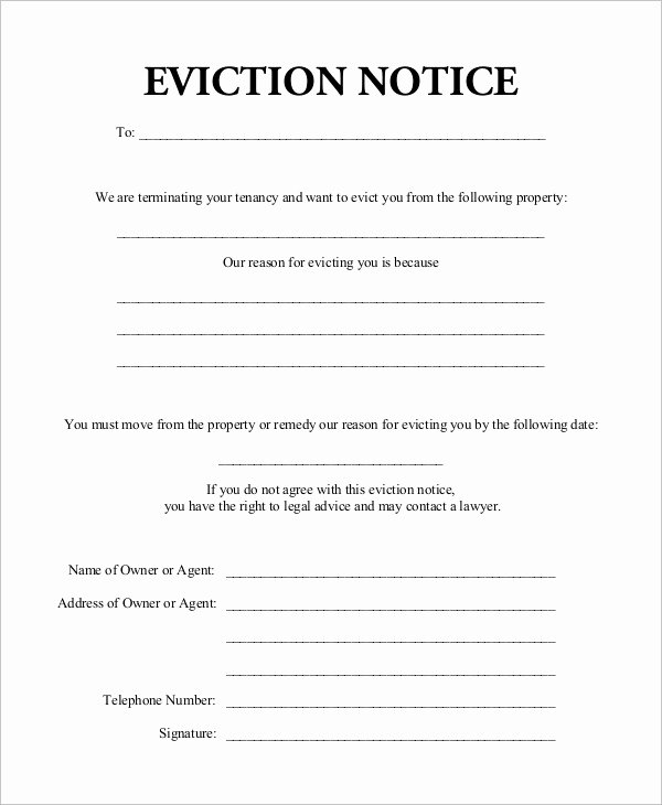 Eviction Notice Template Pdf Unique Free 10 Eviction Notice Examples & Samples In Pdf