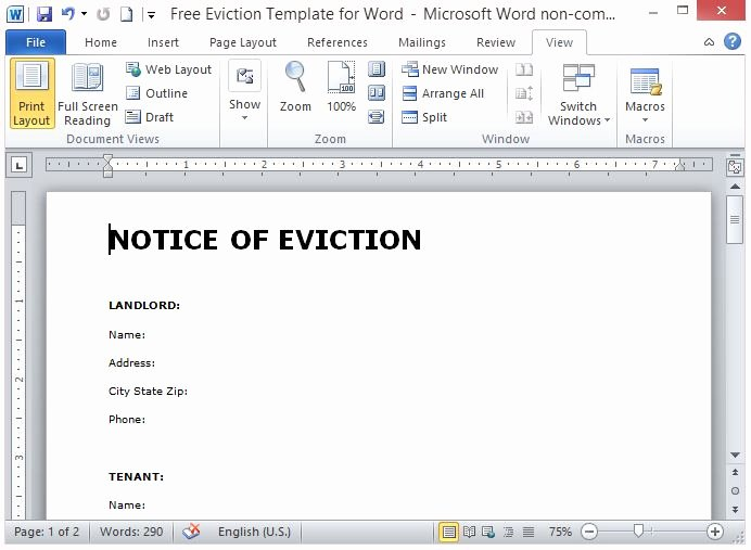 Eviction Notice Template Word New Free Eviction Template for Word