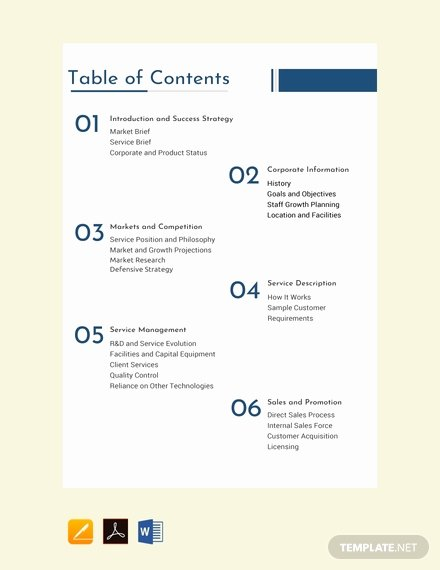 Excel Table Of Contents Template Best Of Free E Page Business Case Template Download 73 Notes