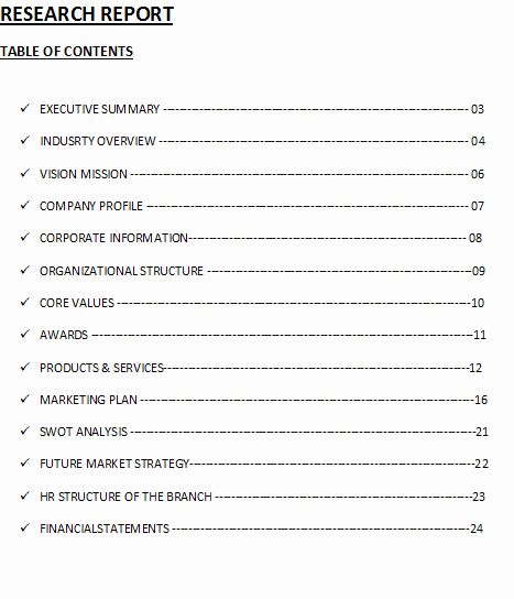 Excel Table Of Contents Template Luxury Research Report Table Of Contents Template – Free Report