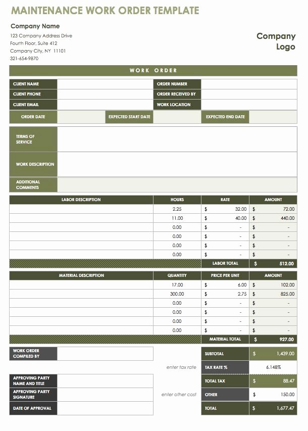 Excel Work order Template Fresh 15 Free Work order Templates