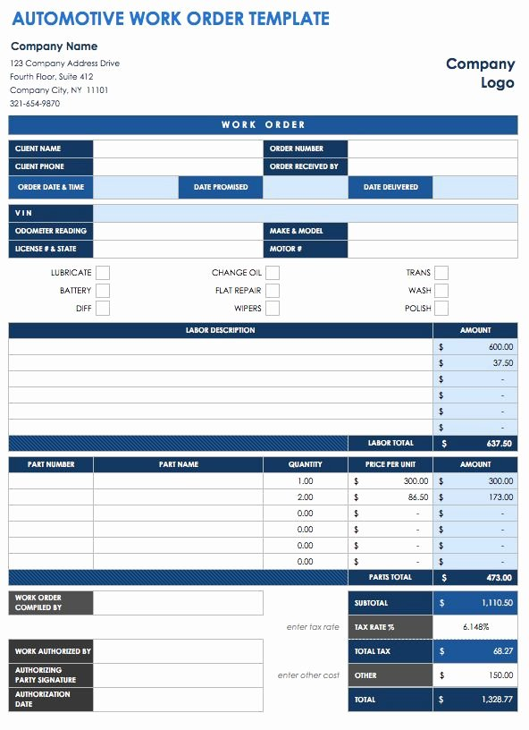 Excel Work order Template Unique 15 Free Work order Templates