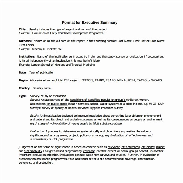 Executive Summary Template Pdf Inspirational Sample Executive Summary Template 7 Free Documents In