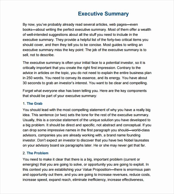Executive Summary Template Pdf Lovely 43 Free Executive Summary Templates In Word Excel Pdf