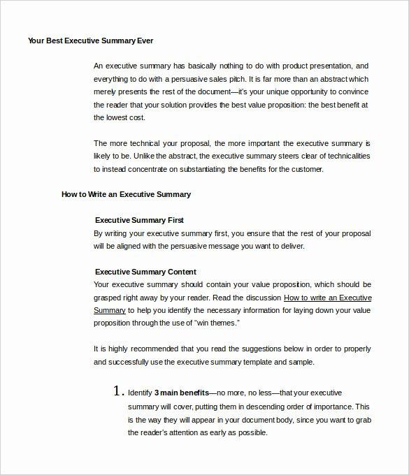 Executive Summary Template Pdf Luxury Executive Summary Sample