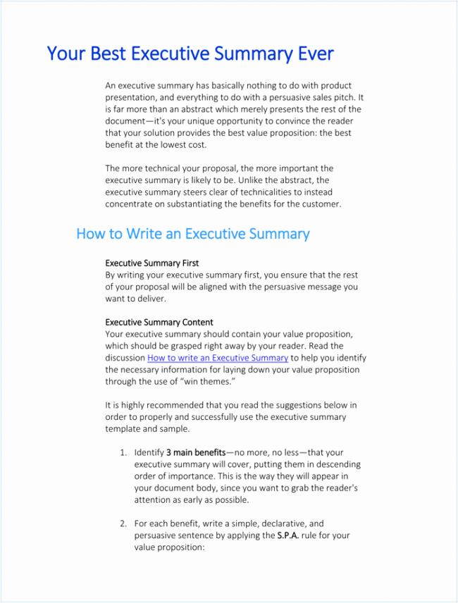 Executive Summary Template Word Luxury 10 Executive Summary Templates
