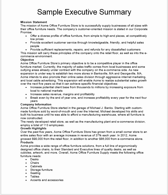 Executive Summary Template Word Luxury 29 Free Executive Summary Templates In Ms Word format
