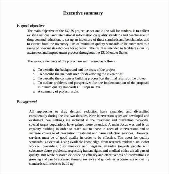 Executive Summary Word Template Elegant Sample Executive Summary Template 8 Documents In Pdf