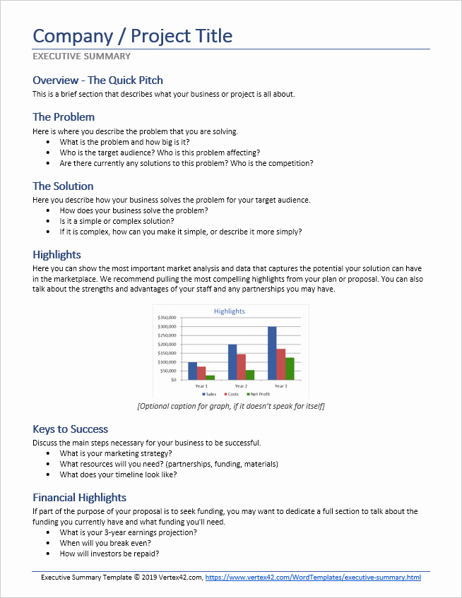 Executive Summary Word Template Inspirational Executive Summary Template for Word