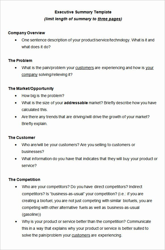 Executive Summary Word Template Lovely 9 Executive Summary Templates Free Samples Examples