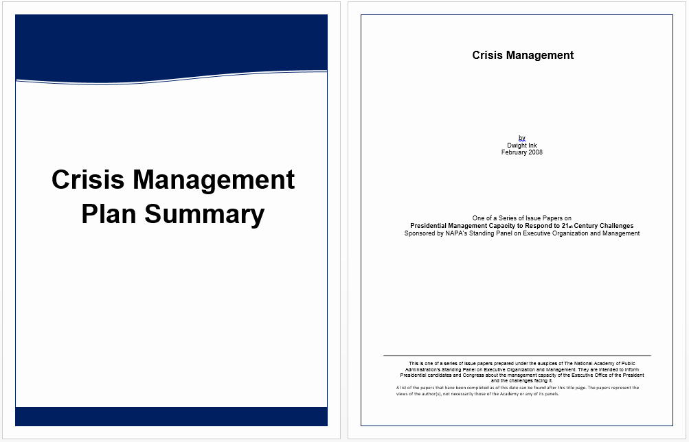 Executive Summary Word Template Lovely Executive Summary Template for Crisis Management