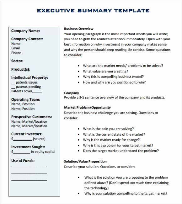 Executive Summary Word Template Unique 43 Free Executive Summary Templates In Word Excel Pdf