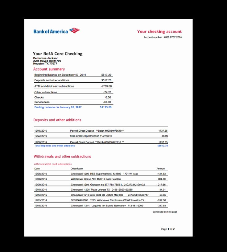 Fake Bank Statement Template Fresh Bank Statement Bank America Template In E Earnings