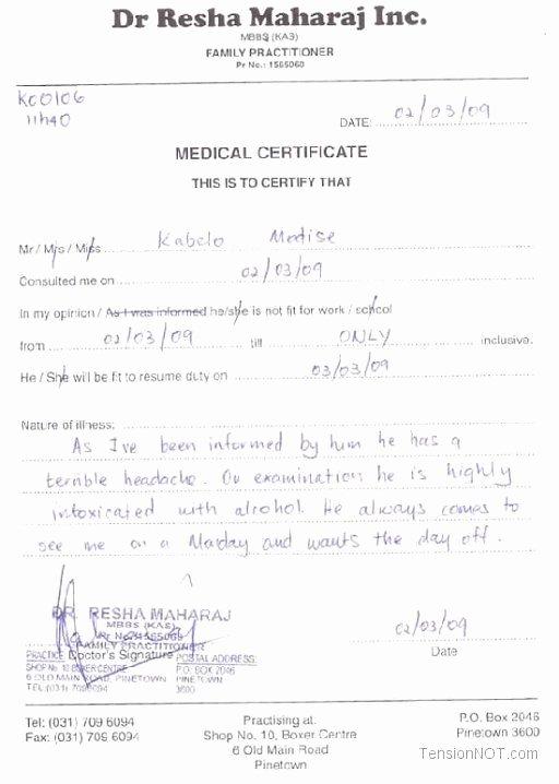Fake Doctors Note Template Elegant Fake Doctors Note Template Free Doctor Excuse Pdf Sick