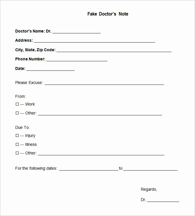Fake Doctors Note Template Inspirational Doctors Note Template 9 Free Sample Example format