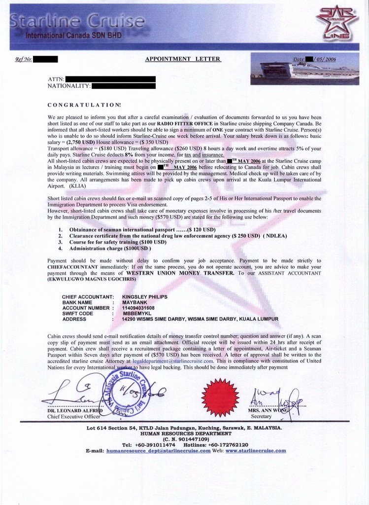 Fake Job Offer Letter Template Lovely Ideceive Job Scam Starline Cruise