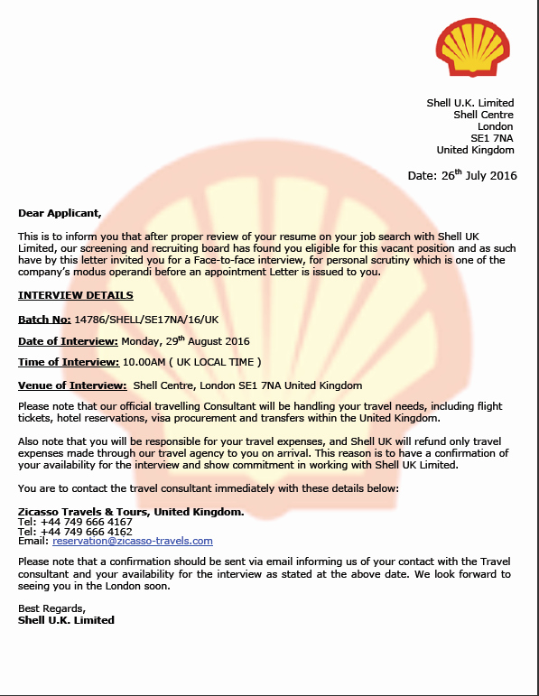 Fake Job Offer Letter Template Luxury Shell U K Ltd Fake Job Fering with A Interview In