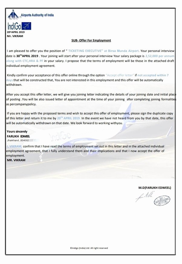 Fake Job Offer Letter Template New How to Know if My Indigo Airlines Offer Letter is Genuine