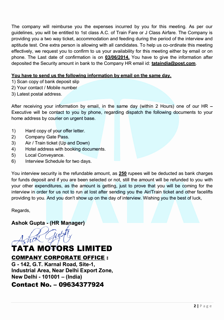 Fake Job Offer Letter Template New Tata India Limited Offer Letter Beware Of Fake Job Offer