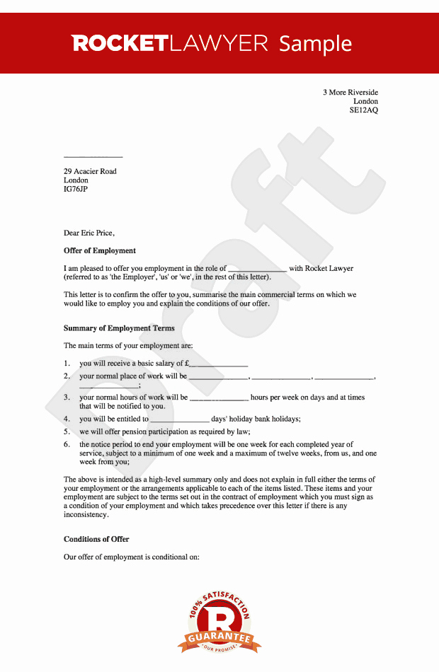 Fake Job Offer Letter Template Unique Fer Of Employment Letter Create A Job Fer Letter Line
